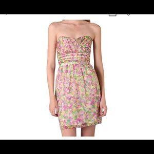 SHOSHANNA FLORAL STRAPLESS SILK DRESS,POCKETS